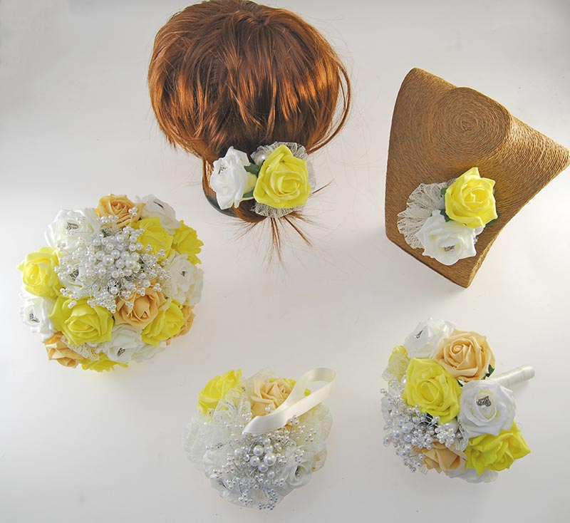 Vintage Heart Wedding Flower Package, Yellow, Pale Gold & Ivory Foam Roses