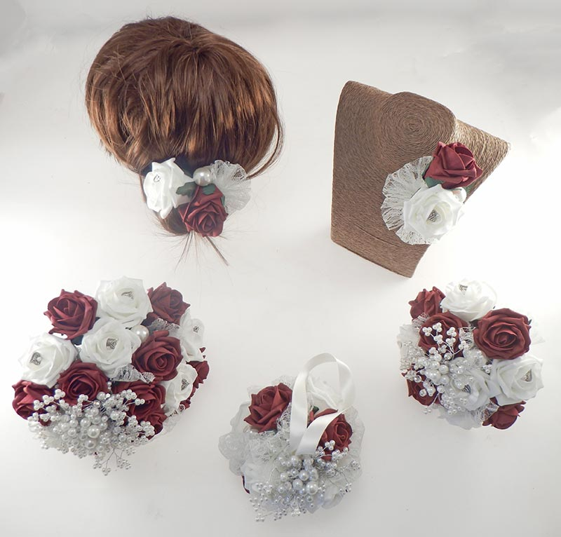 Vintage Heart Wedding Flower Package in Burgundy & Ivory Foam Roses