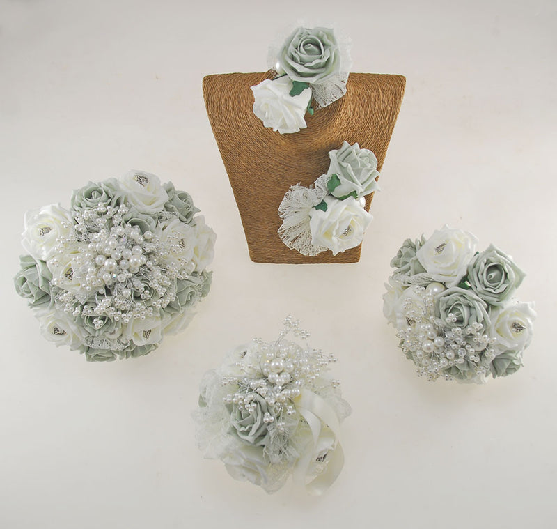 Vintage Heart Wedding Flower Package in Grey & Ivory Foam Roses