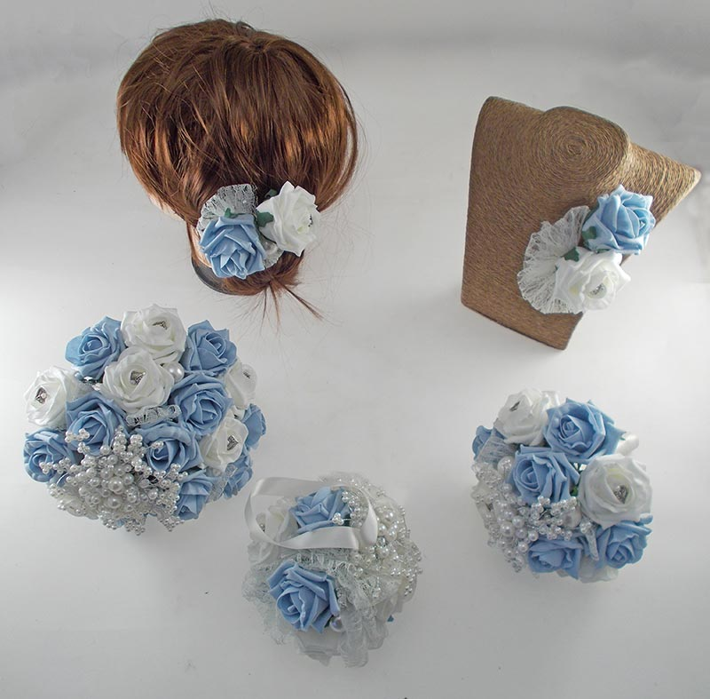 Vintage Heart Wedding Flower Package in Light Blue & Ivory Foam Roses