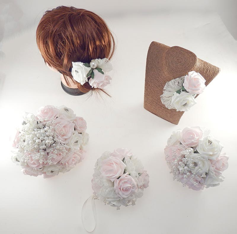 Vintage Heart Wedding Flower Package in Light Pink & Ivory Foam Roses