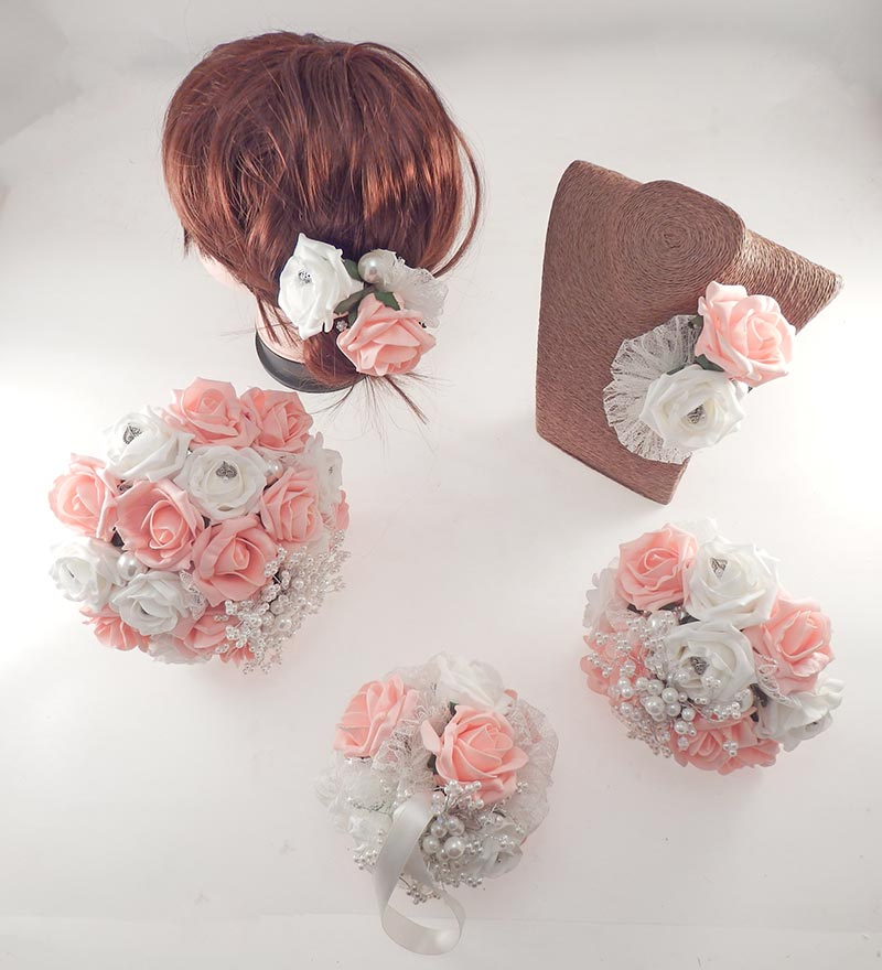 Vintage Heart Wedding Flower Package in Peach & Ivory Foam Roses