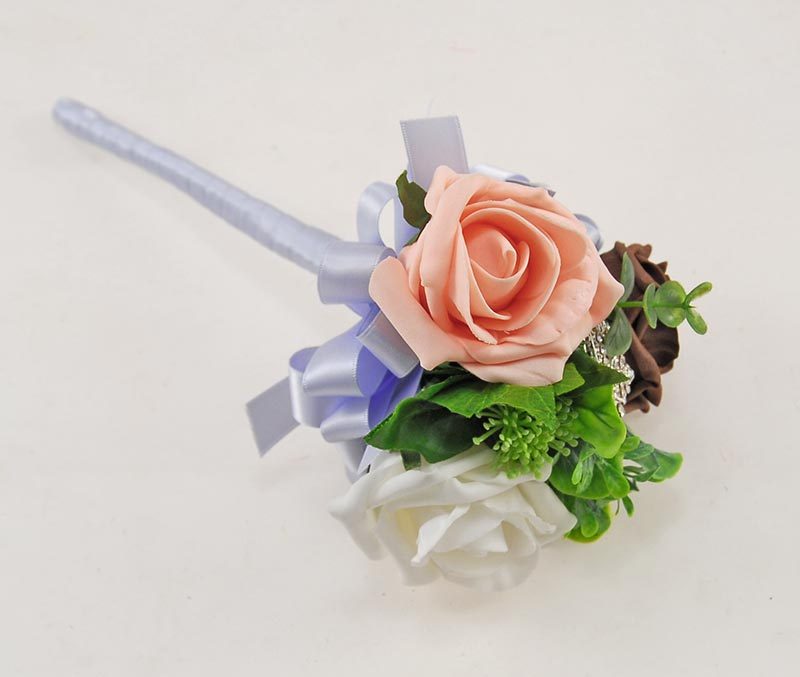 Peach & Brown Foam Rose Molly Foliage Wedding Flower Package