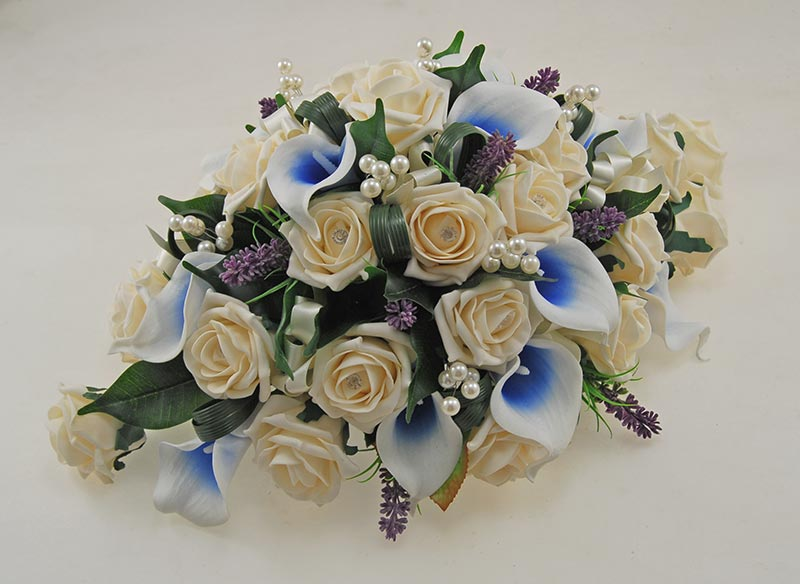 Wedding Top Table Arrangement with Blue Calla Lilies, Cream Roses, Lavender & Pearls