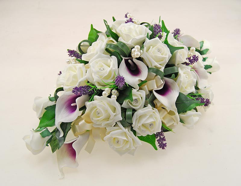 Wedding Top Table Arrangement with Calla Lillies, Roses, Lavender & Pearls