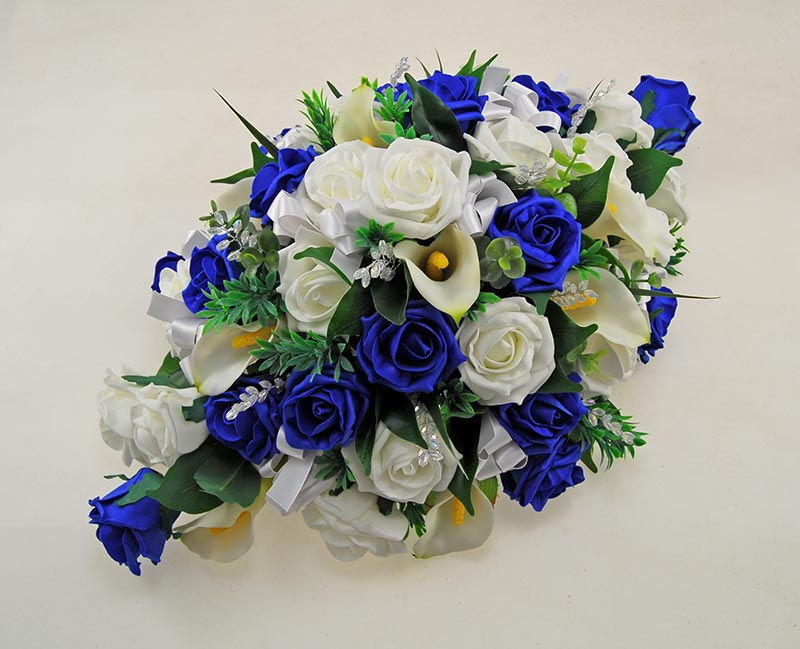 Wedding Top Table Arrangement with Royal Blue Roses, Ivory Calla Lilies, Crystals
