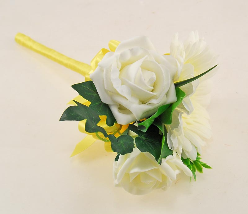 Uma Pale Lemon Rose, Ivory Silk Gerbera & Lemon Ribbon Wedding Package