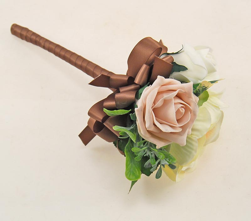 Yazmin Cottage Pink Mocha Rose & Green Herb Wedding Flower Package