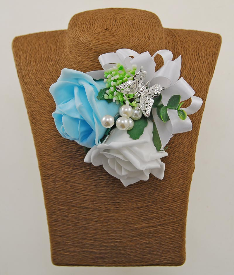 White, Aqua Rose, Pearl & Silver Butterfly Wedding Pin Corsage