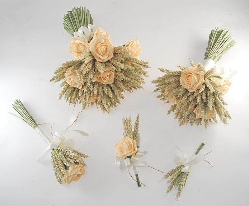 Willow Natural Wheat & Mango Rose Wedding Flower Package