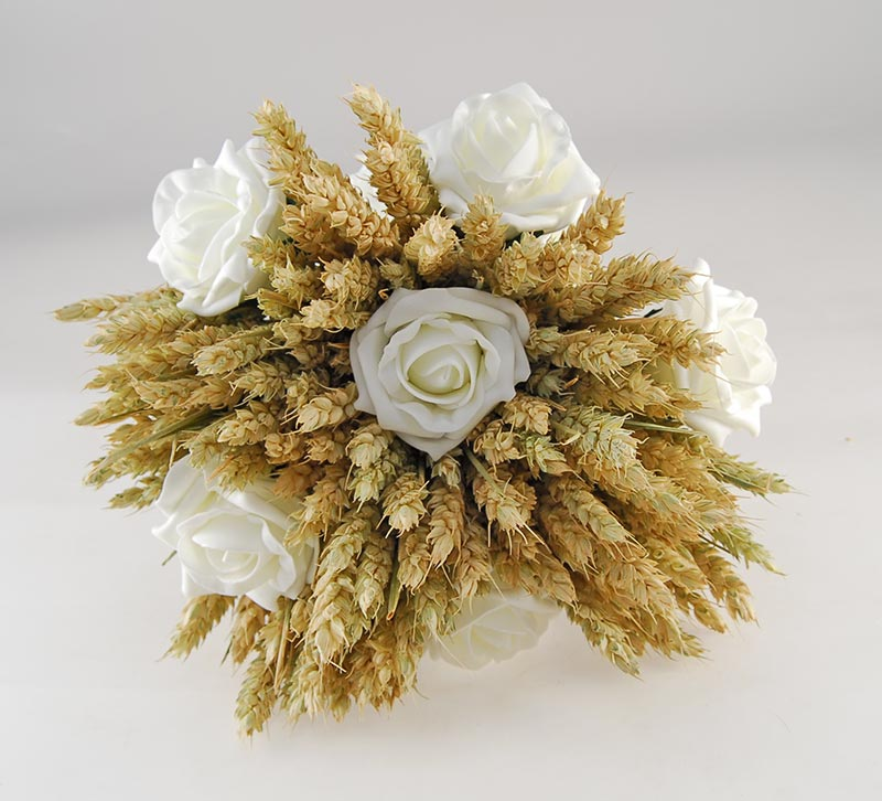 Willow Natural Wheat Ivory Foam Rose Wedding Flower Package