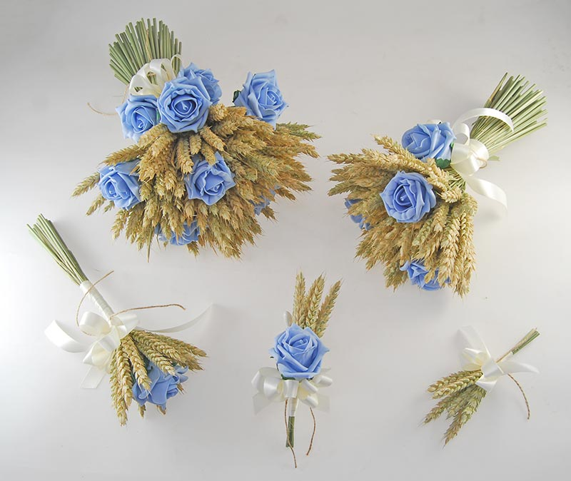Willow Natural Wheat & Light Blue Rose Wedding Flower Package