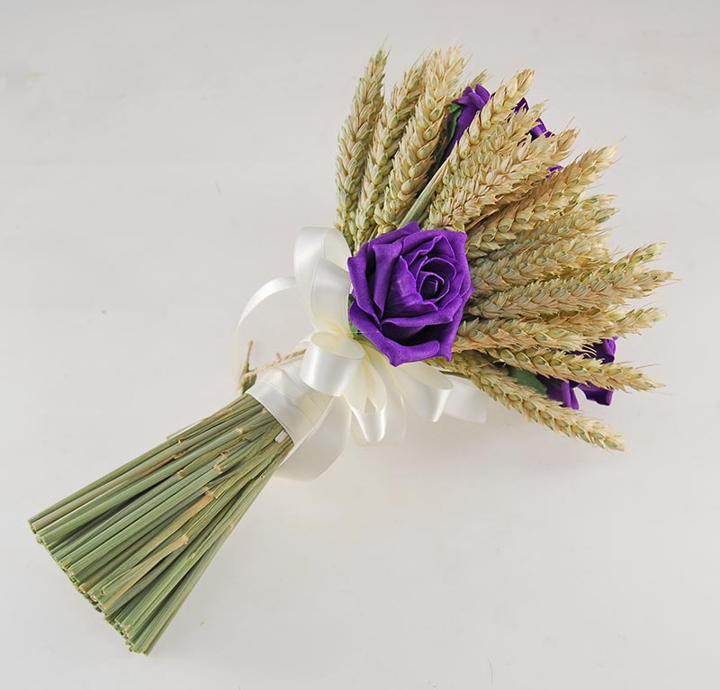 Willow Natural Wheat Purple Foam Rose Wedding Flower Package