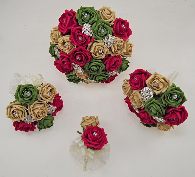 Wine Red, Coffee & Forest Green Rose Classic Diamante Brooch Wedding Flower Package