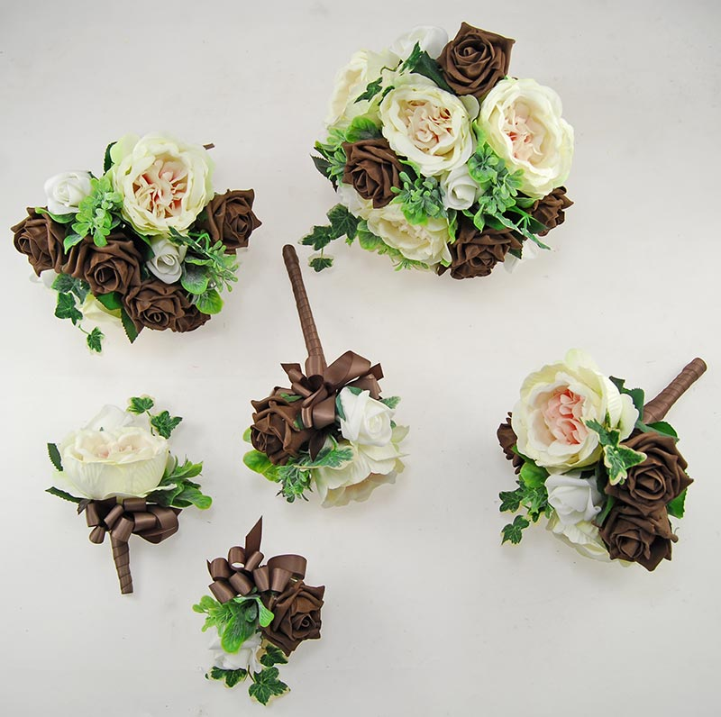 Yazmin Cottage Brown Rose & Green Herb Wedding Flower Package