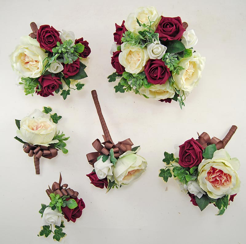 Yazmin Cottage Burgundy & Ivory Rose Green Herb Wedding Package