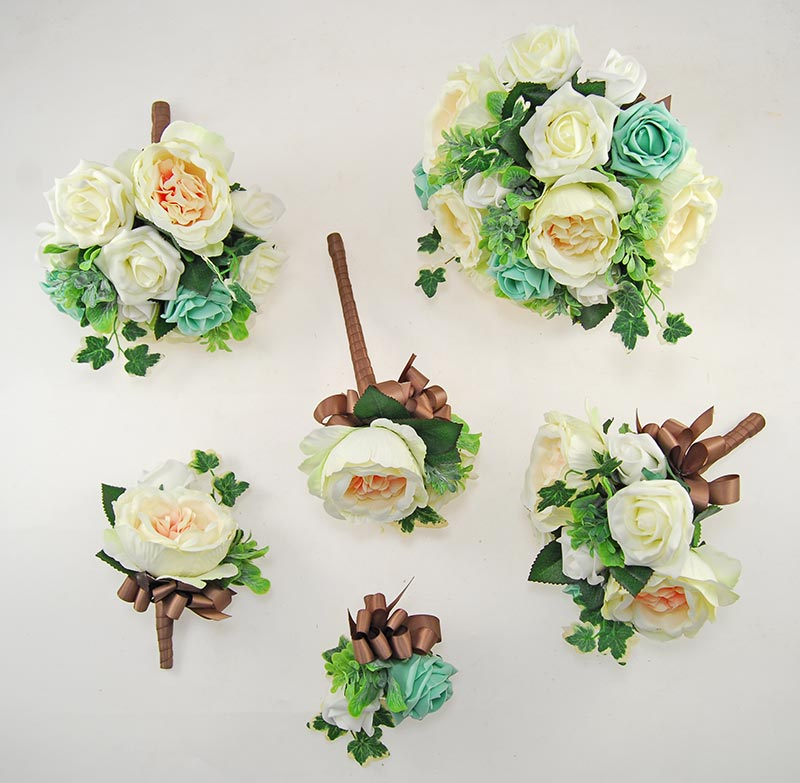 Yazmin Cottage Mint Rose & Green Herb Wedding Flower Package