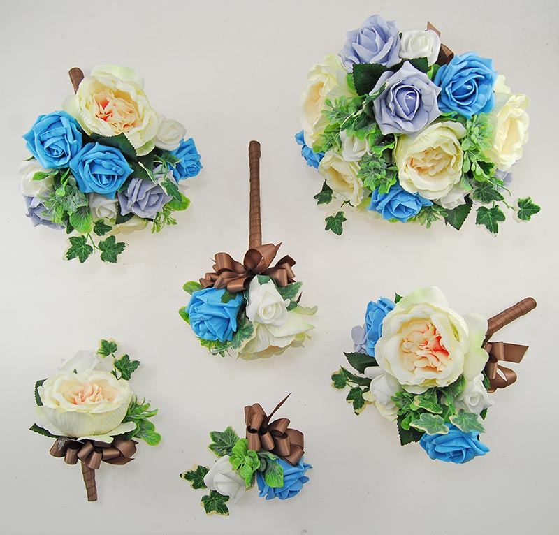 Yazmin Cottage Turquoise & Steel Blue Rose Green Herb Wedding Package