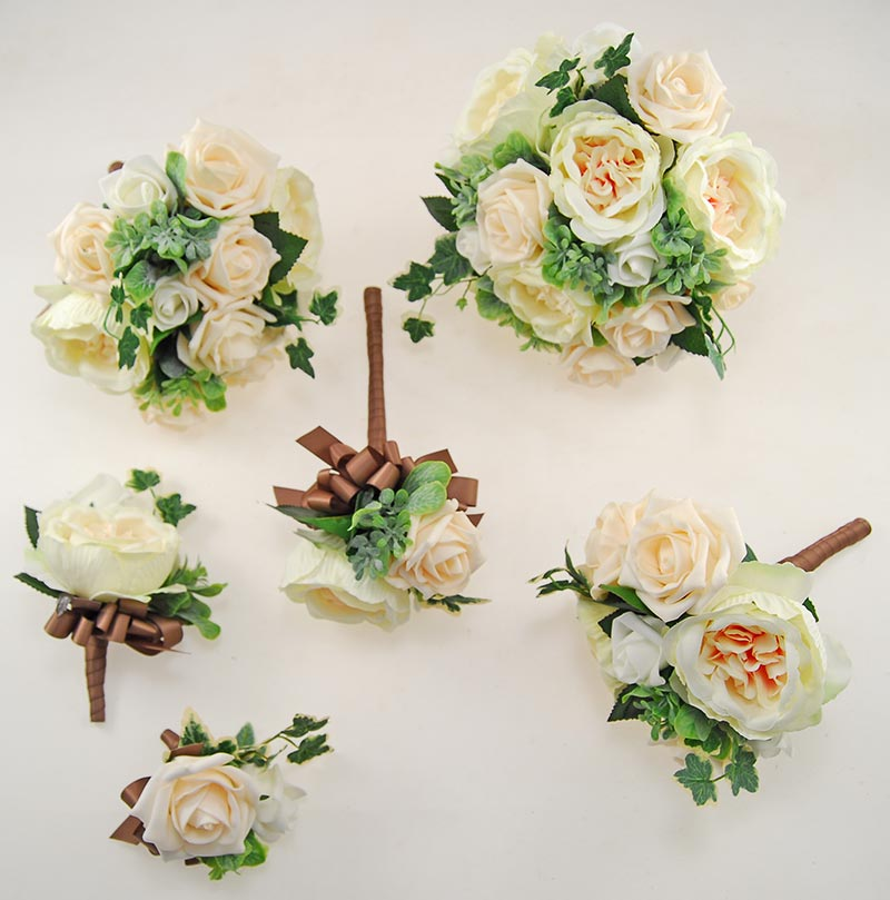 Yazmin Cottage Cream Rose & Green Herb Wedding Flower Package