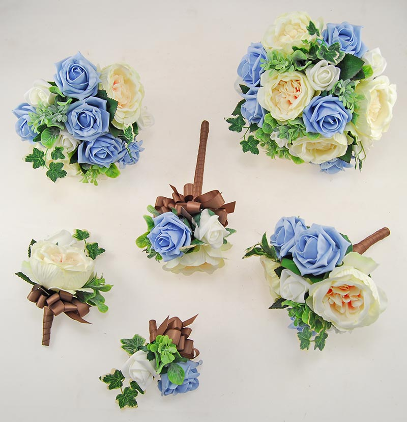 Yazmin Cottage Light Blue Rose & Green Herb Wedding Flower Package