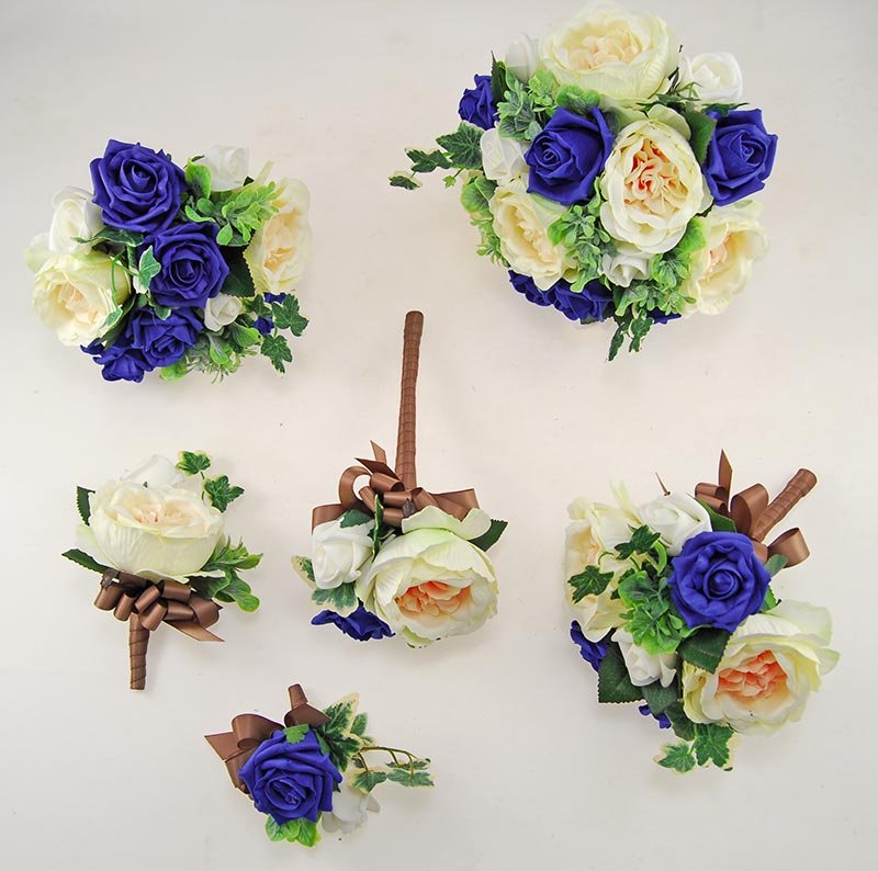 Yazmin Cottage Royal Blue Rose & Green Herb Wedding Flower Package