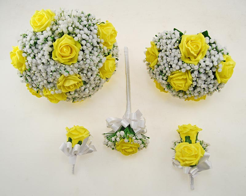 Yellow Foam Rose & Ivory Gypsophila Yula Wedding Package