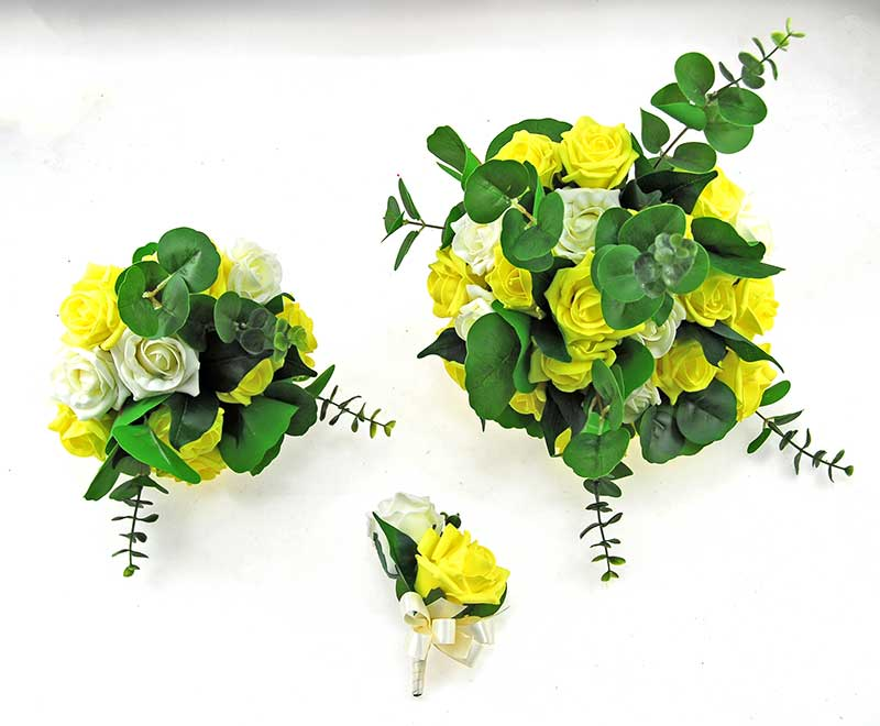 Yellow & Ivory Foam Rose, Green Eucalyptus Dior Wedding Package