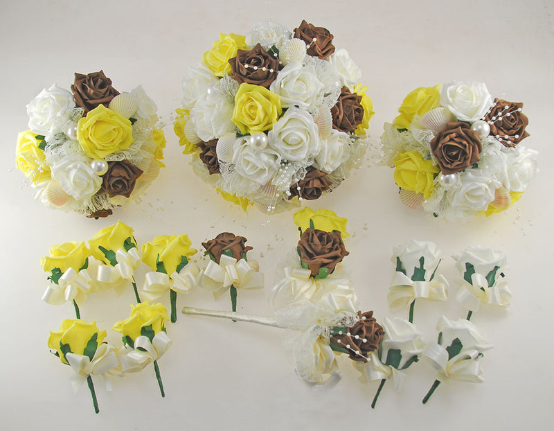 Yellow, Brown and Ivory Foam Rose, Seashell and Pearl Wedding Flower Package with Brides Bouquet, Bridesmaids Posies, Grooms, Mothers, Guest Buttonholes