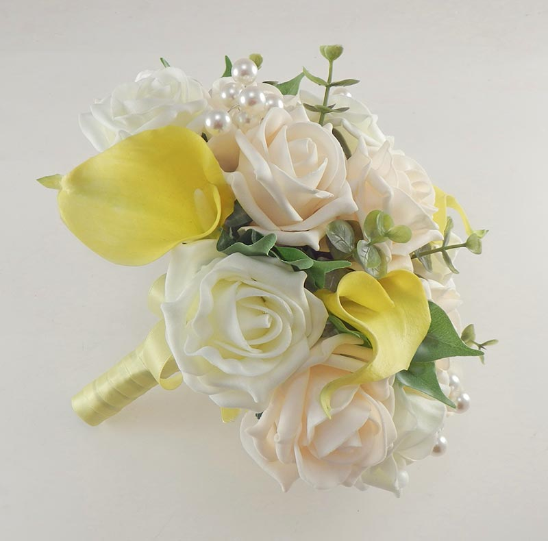 Yellow Calla Lily, Cream & Ivory Rose Bridal Wedding Bouquet with Pearls