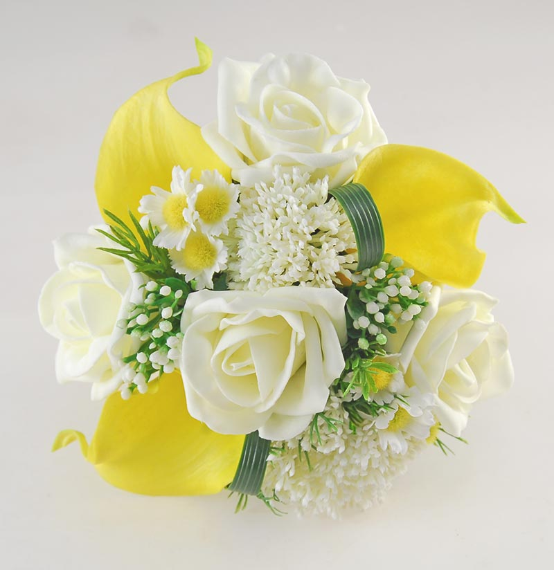 Yellow Calla Lily, Daisy & Elderflower Flower Girl Wedding Posy