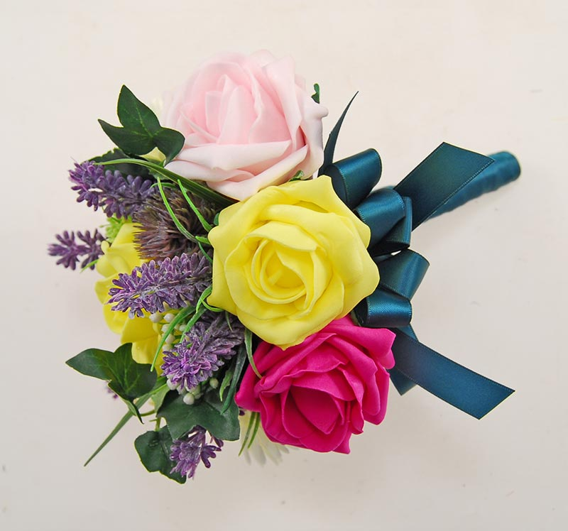Yellow & Cerise Rose & Lavender Flower Girl Wedding Posy