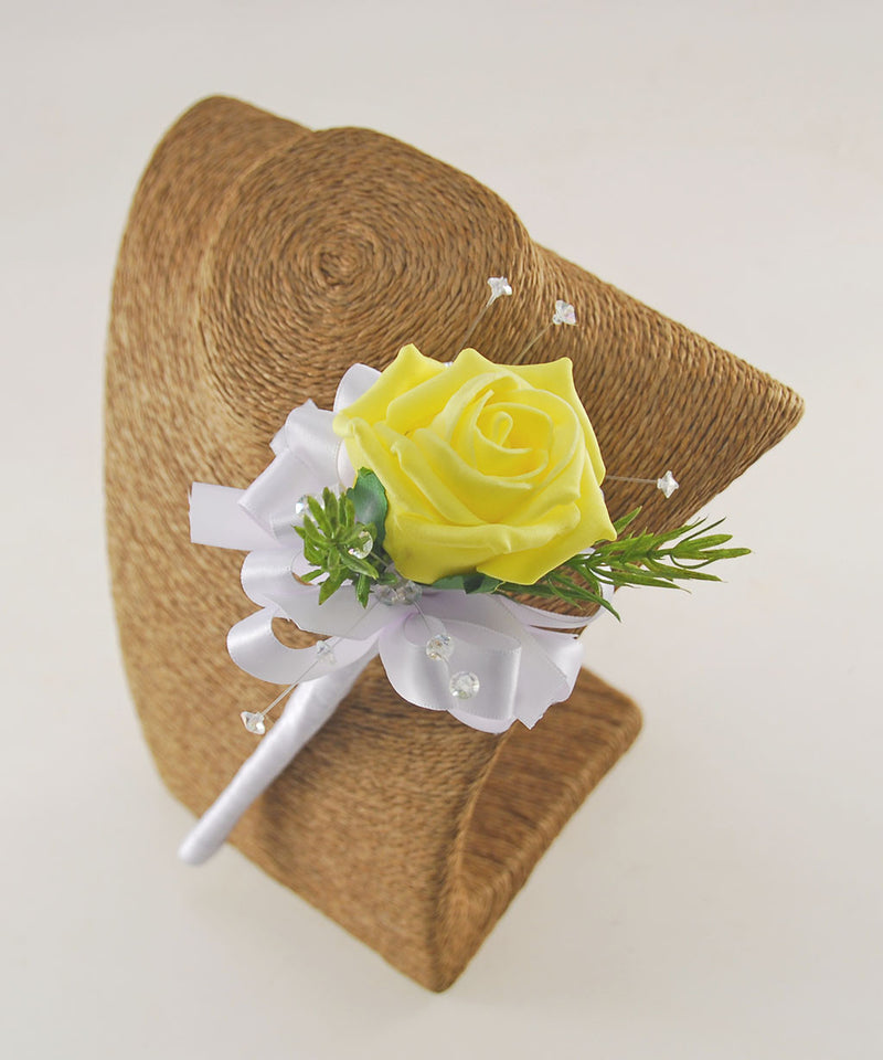Yellow Rose, Crystal & Rosemary Flower Girl Wedding Wand