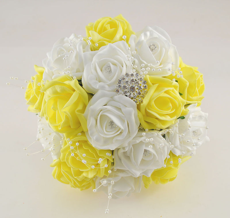Yellow and White Diamante Foam Rose and Brooch Wedding Flower Package with Brides Bouquet, Bridesmaids Posies, Grooms Buttonhole