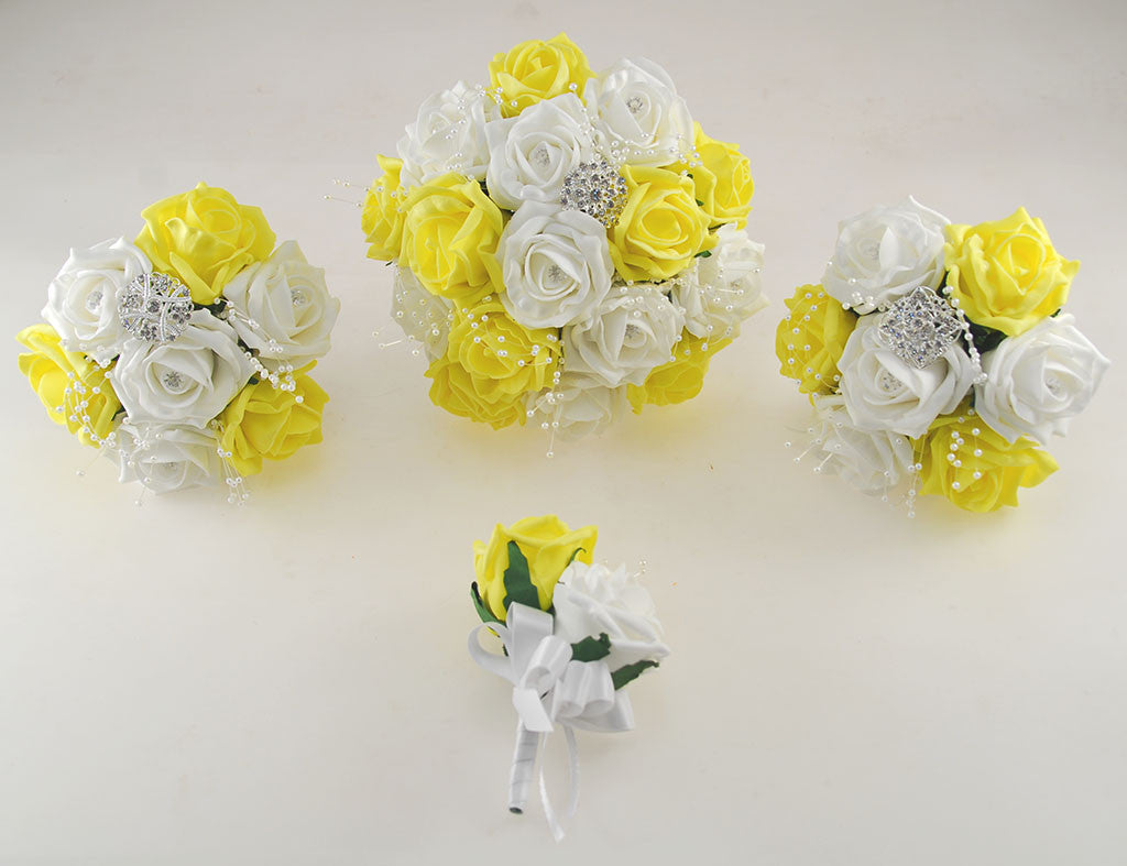 Yellow And White Diamante Foam Rose And Brooch Wedding Flower