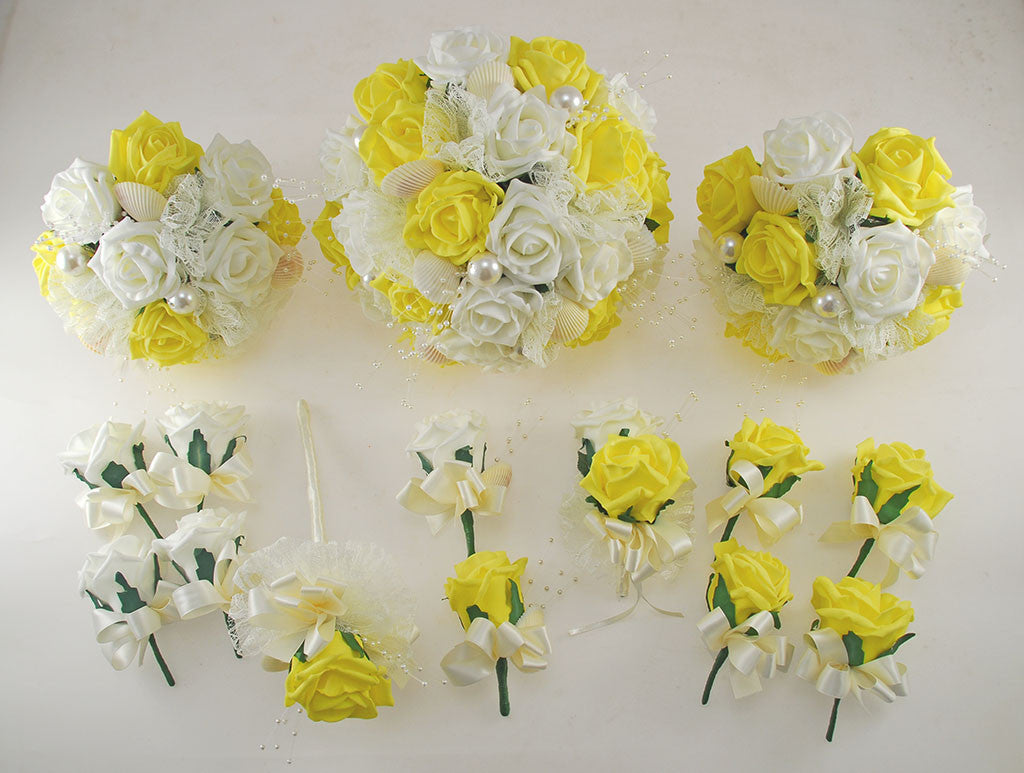 Yellow And Ivory Foam Rose Seashell And Pearl Wedding Flower