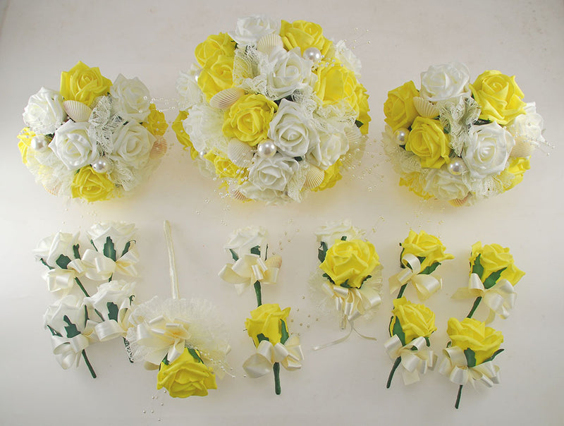 Yellow and Ivory Foam Rose, Seashell and Pearl Wedding Flower Package with Brides Bouquet, Bridesmaids Posies, Grooms, Mothers, Guest Buttonholes