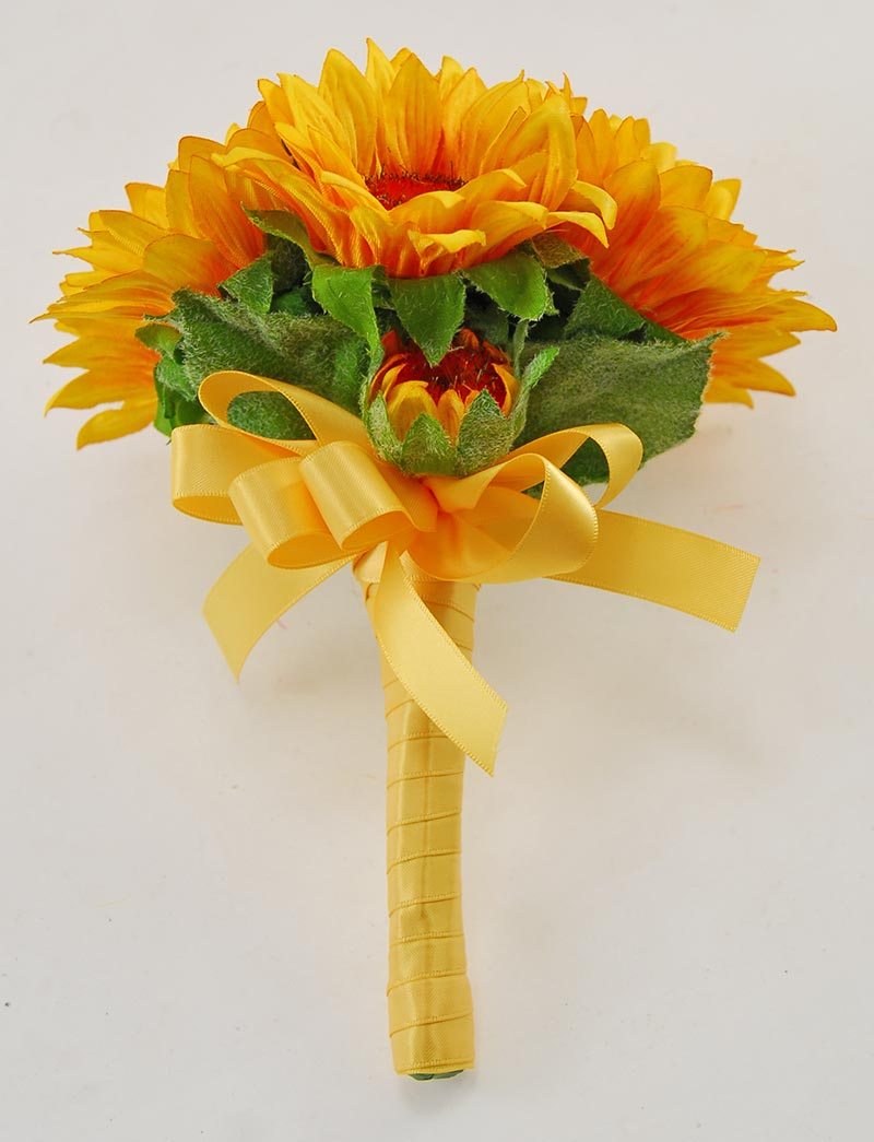 Young Bridesmaids Golden Yellow Silk Sunflower Wedding Posy