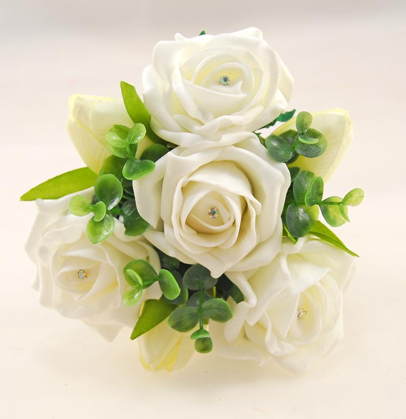 Young Bridesmaids Ivory Diamante Rose & Silk Tulip Wedding Posy