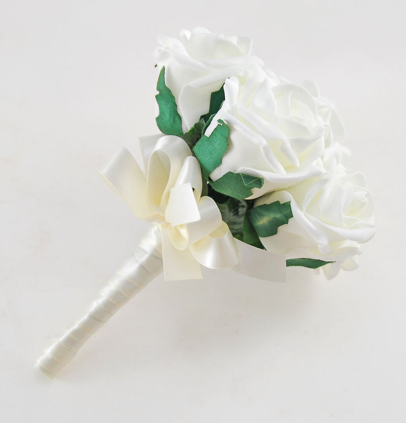 Young Bridesmaids Ivory Foam Rose Wedding Flower Posy