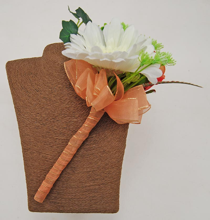 Young Bridesmaids Ivory Silk Gerbera & Orange Rose Wedding Wand