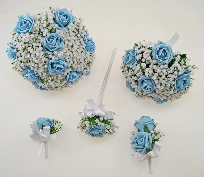 Light Blue Foam Rose & Ivory Gypsophila Yula Wedding Package