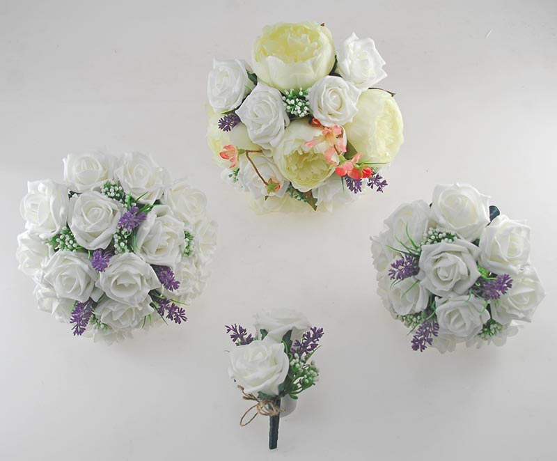 Zara Ivory Peony, Cherry Blossom, Lavender & Ivory Rose Wedding Flower Package