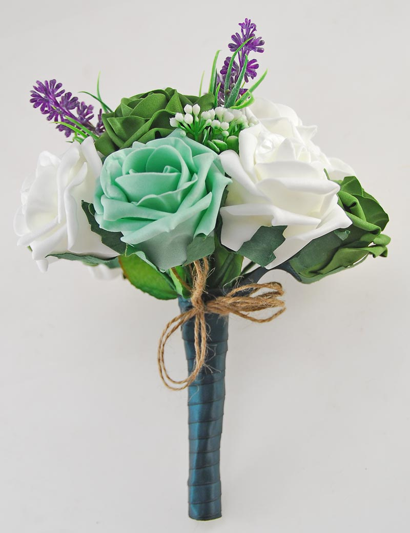Zara Ivory Peony, Cherry Blossom, Lavender, Mint & Forest Green Rose Wedding Flower Package