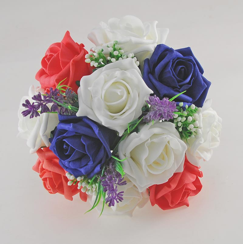 Zara Ivory Peony, Cherry Blossom, Lavender, Navy Blue & Coral Rose Wedding Flower Package