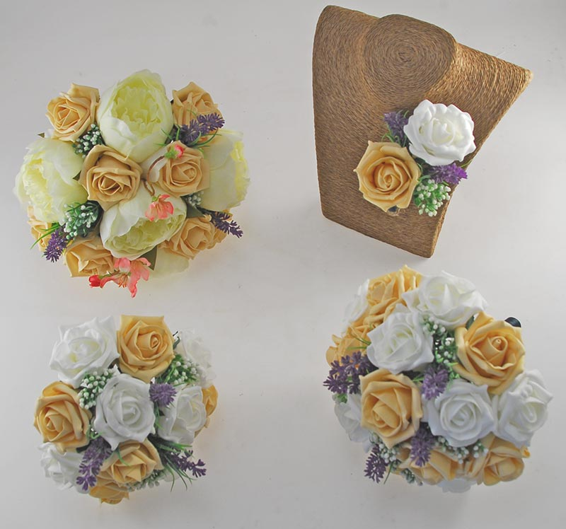 Zara Ivory Peony, Cherry Blossom, Lavender & Pale Gold Rose Wedding Flower Package