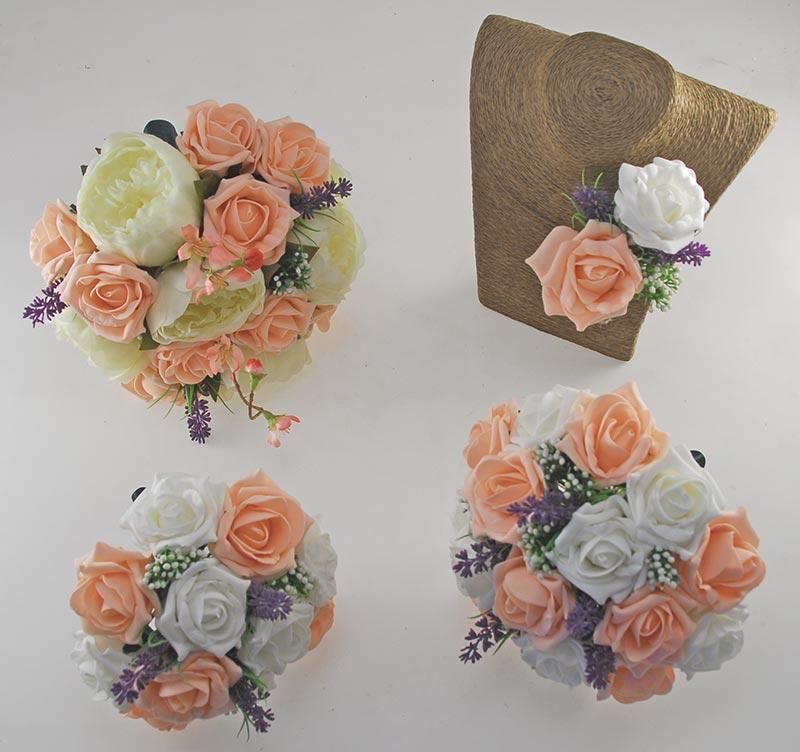 Zara Ivory Peony, Cherry Blossom, Lavender & Peach Rose Wedding Flower Package