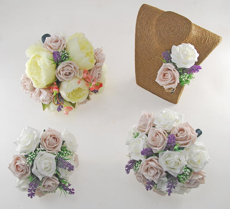 Zara Peony, Cherry Blossom, Lavender, Pink Mocha & Ivory Rose Wedding Flower Package