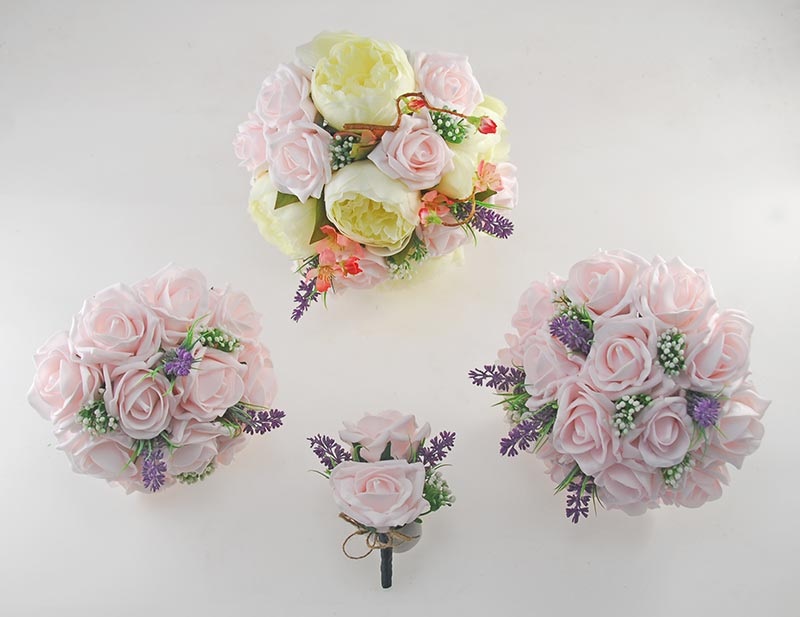 Zara Silk Peony, Cherry Blossom & Light Pink Rose Wedding Flower Package