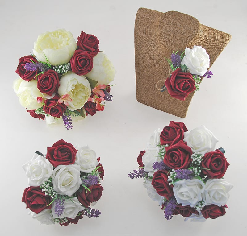 Zara Ivory Peony, Cherry Blossom, Lavender & Burgundy Rose Wedding Flower Package