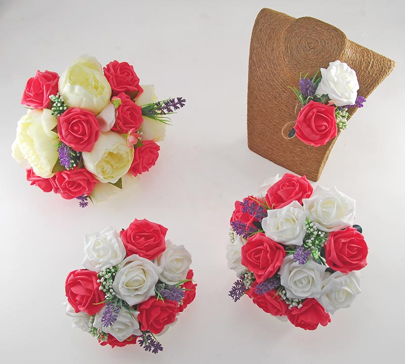 Zara Ivory Peony, Cherry Blossom, Lavender & Coral Rose Wedding Flower Package